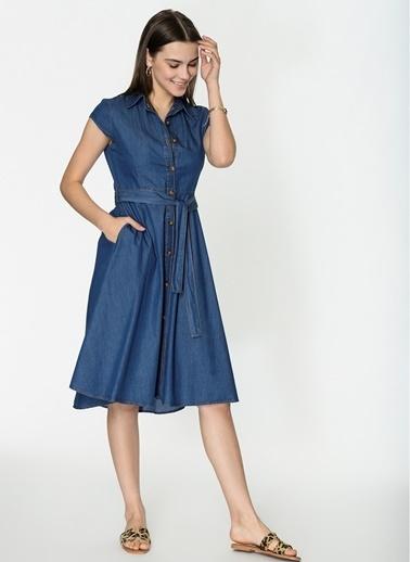 Loves You Eteği Çan Kolsuz Denim Elbise Mavi